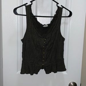 Free People Edgy Ruffle Edge Tank with Gold detail
